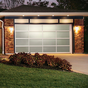 garage door at night